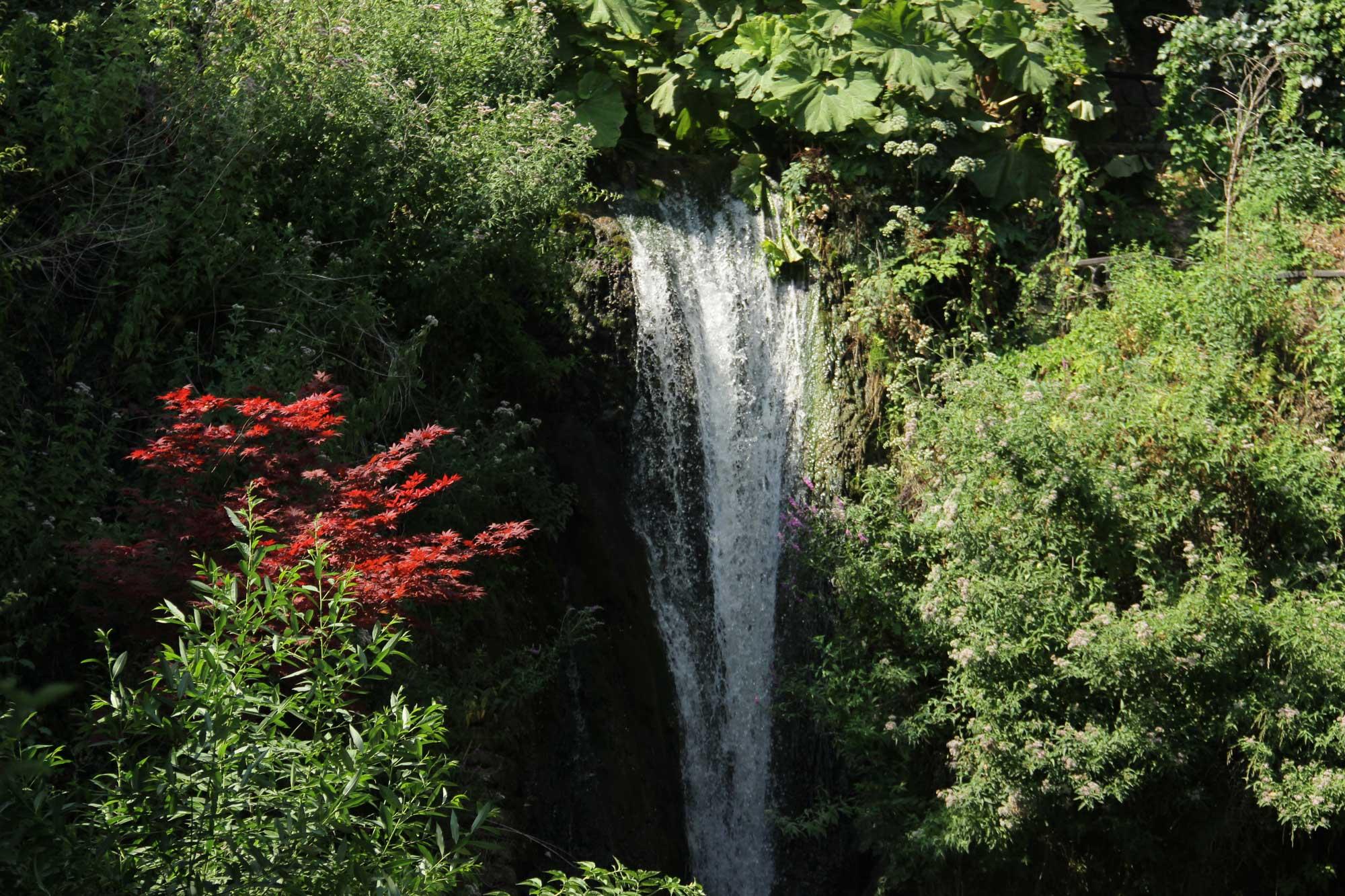 невиданной красоты водопад в тени сада