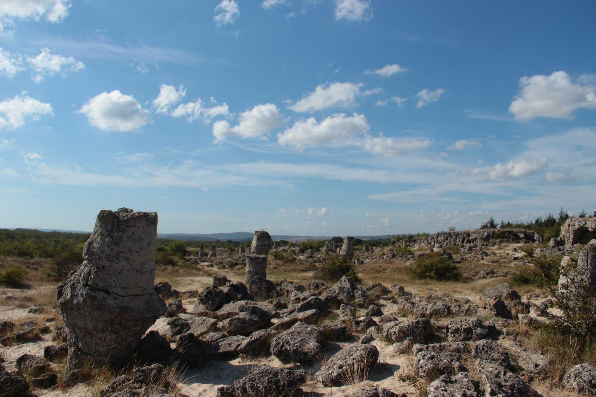 панорама на вбитые камни